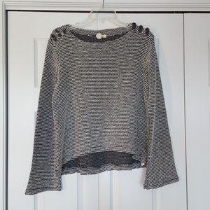 Roxy boxy sweater, gray and white nubby fabric